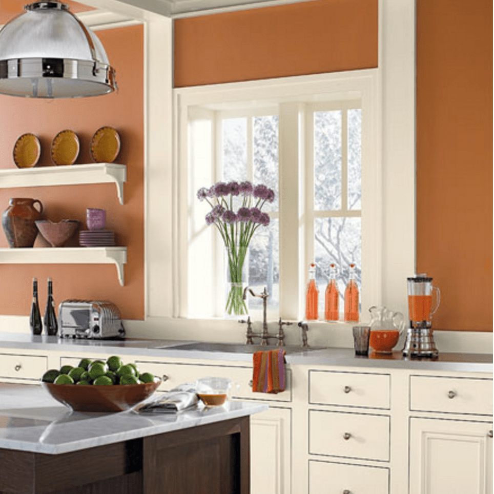 Orange Kitchen Room With White Cabinets Stock Image: Top 10 Tuscan-Style Paint Colors