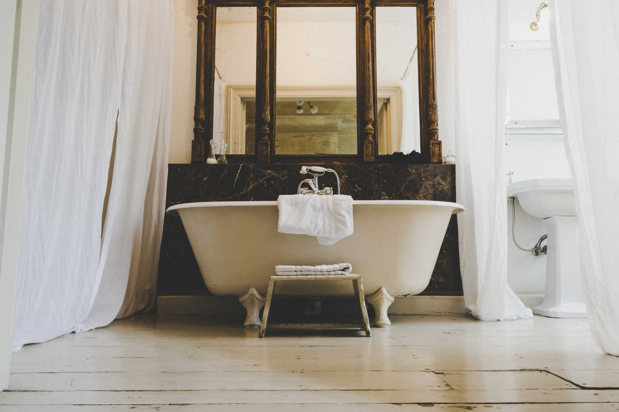 Low angle view of a clawfoot bathtub