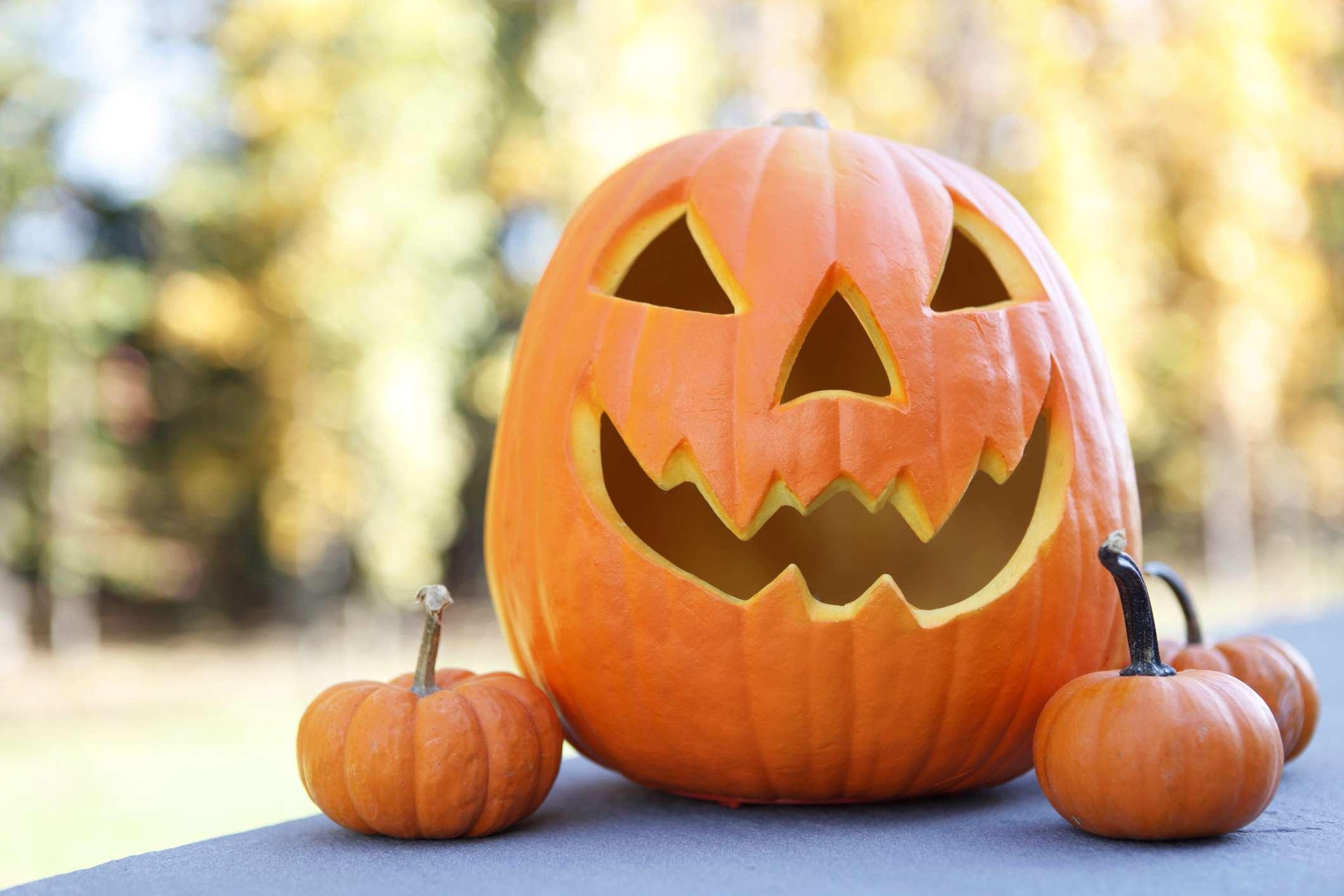 A jack o' lanten with small pumpkins
