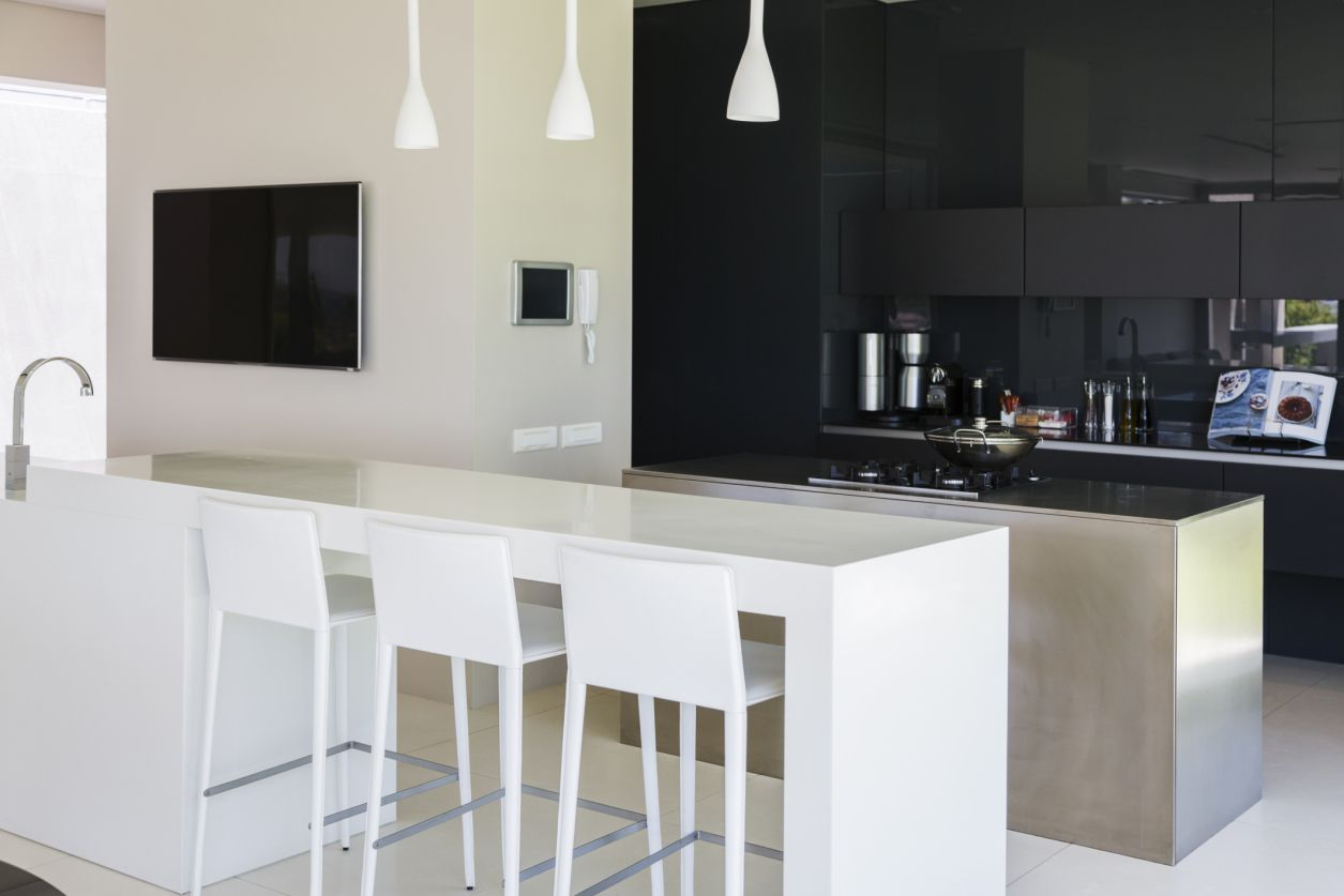 Sophisticated black and white kitchen
