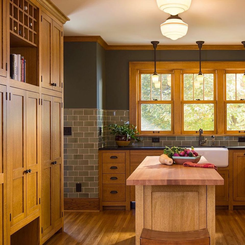 Craftsman kitchen with gray walls