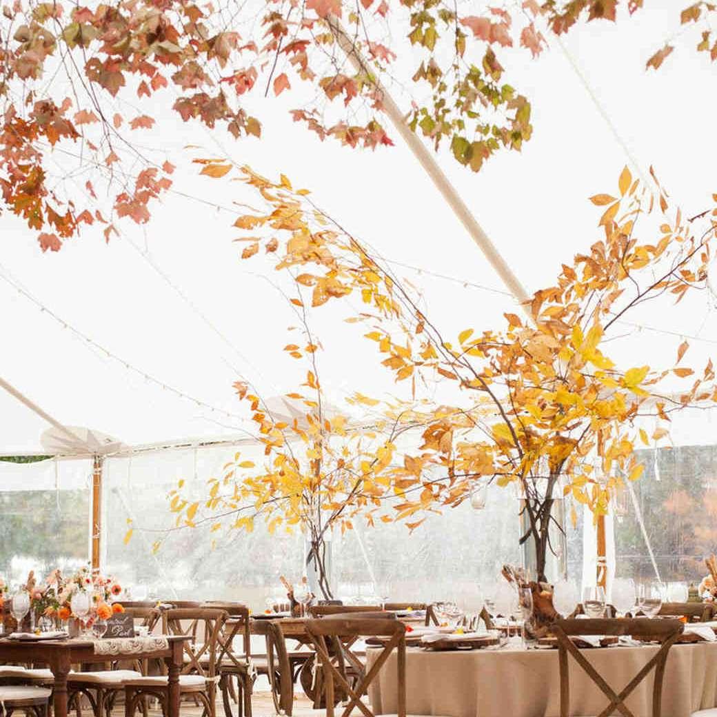 Modern Rustic Leave Fall Wedding Centerpiece