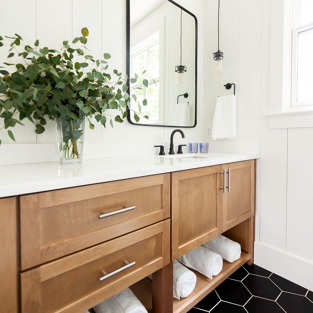 Vanity with plants
