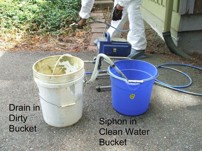 Siphon tube in water bucket