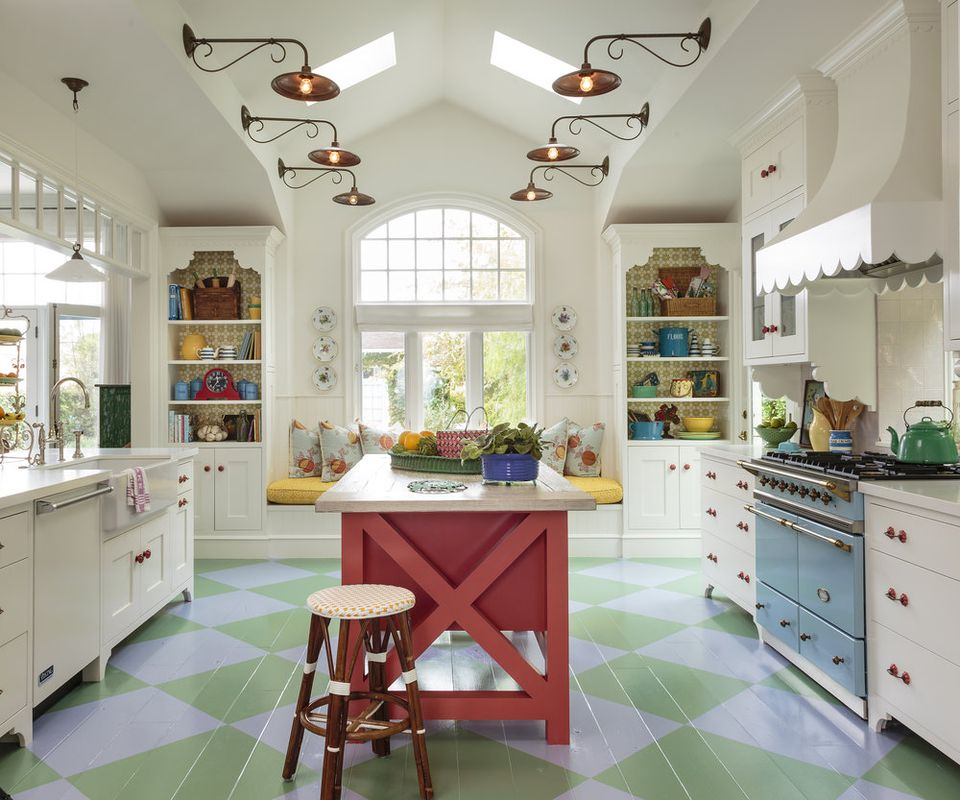 piso de cocina estarcido colorido