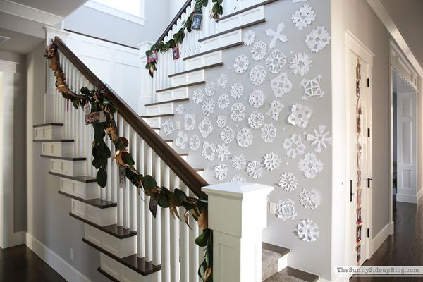 stairway with Christmas cards and snowflakes