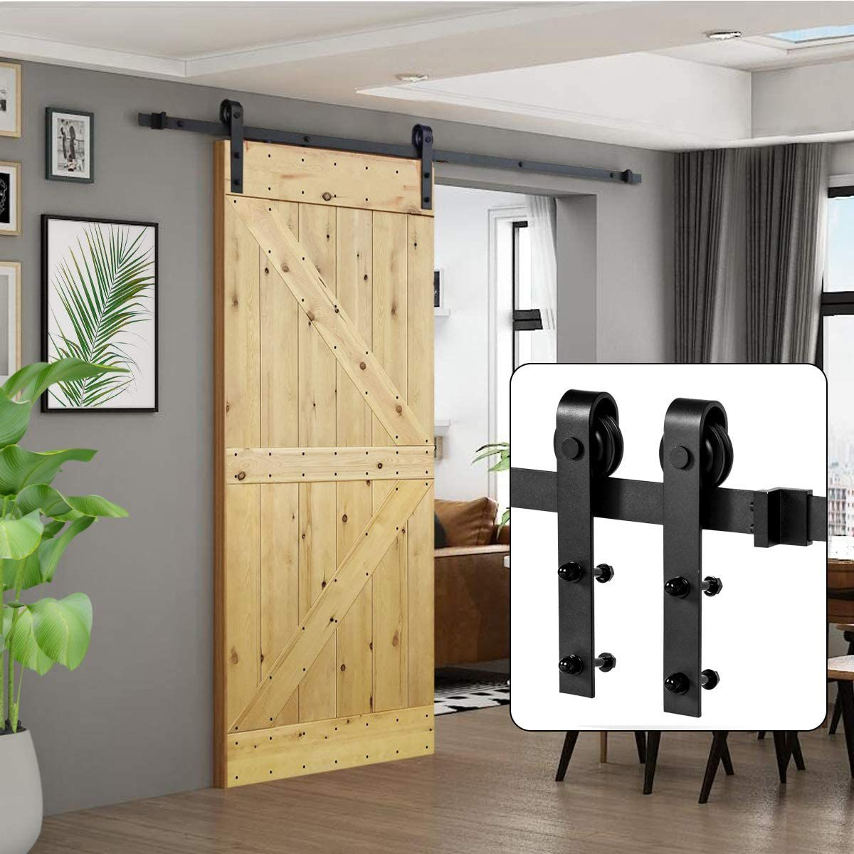 U-MAX 6.6 FT Sliding Barn Wood Door Basic Sliding Track Hardware Kit