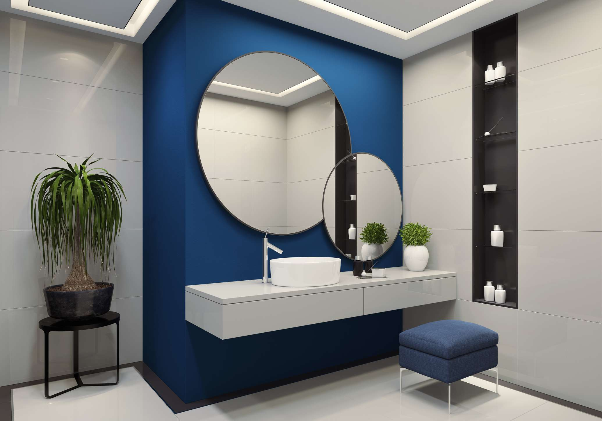 Color blocked blue and white bathroom