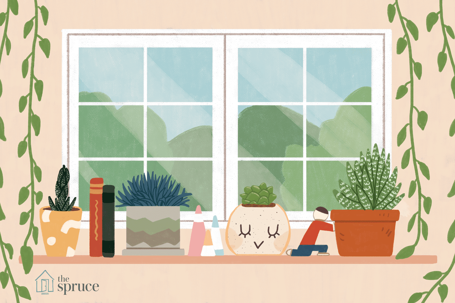 illustration of plants in an office