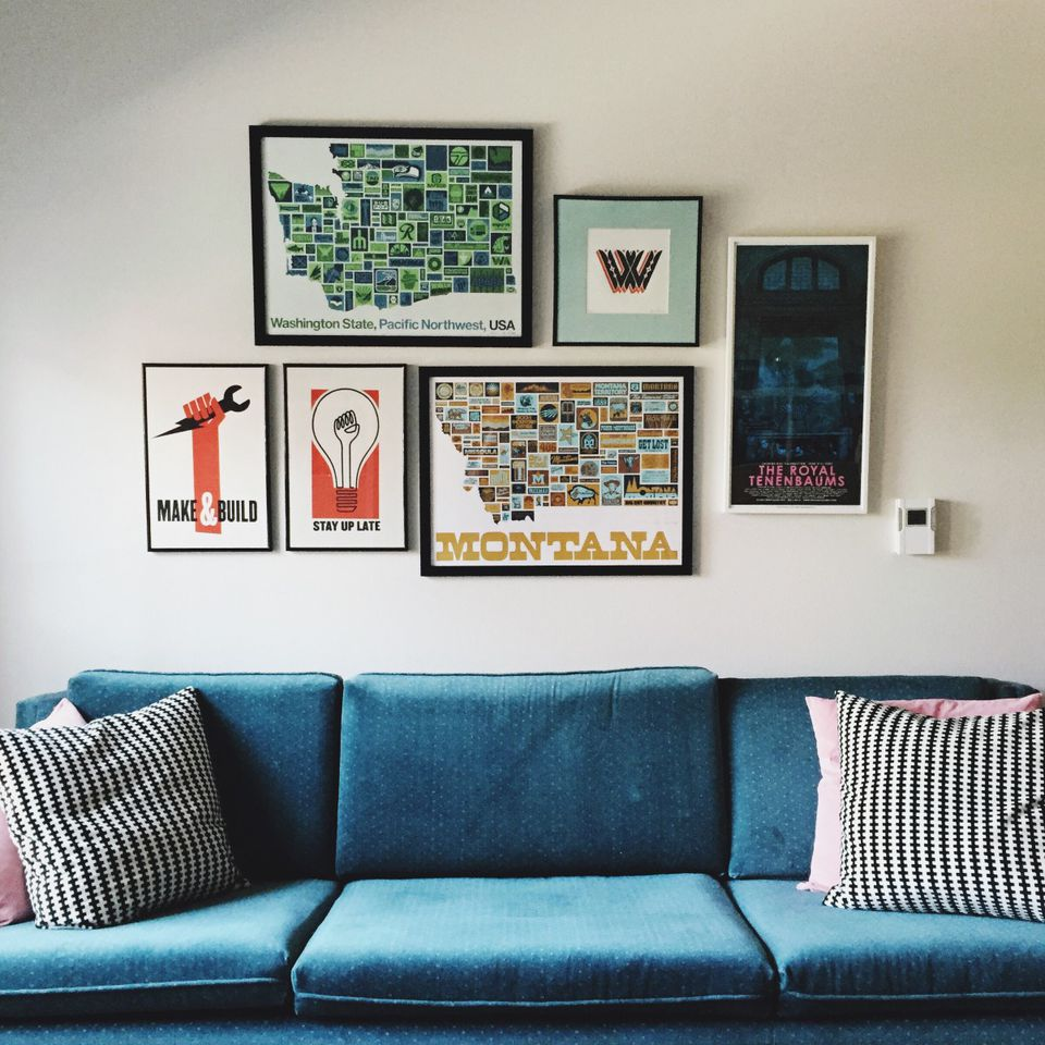 gallery wall in a midcentury modern style living room