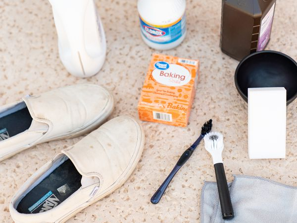 Dirty white vans with ingredients and tools to clean