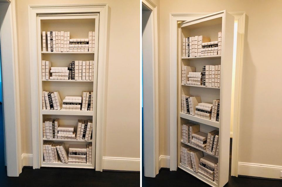 Secret closet behind built-in shelves