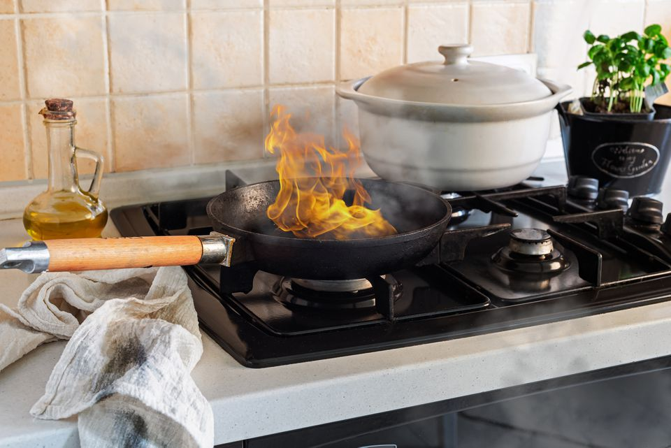 burning food causing smoke and soot stains