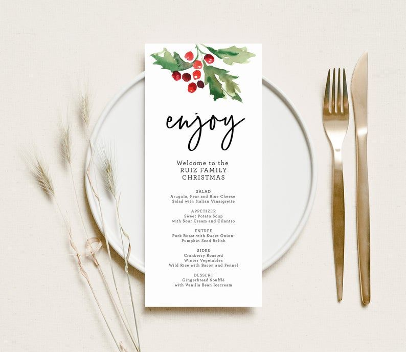 A menu with holly and berries that says