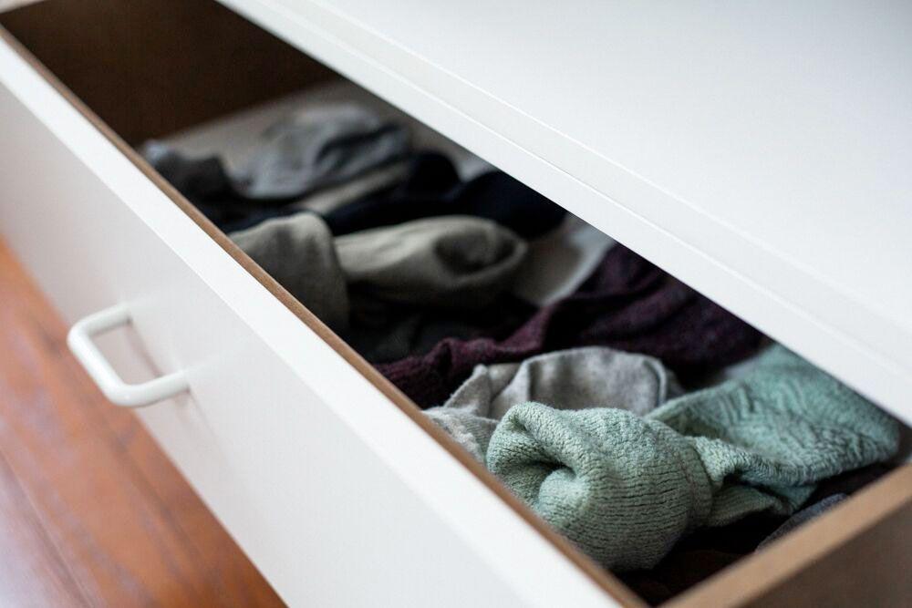 Socks neatly folded in a drawer