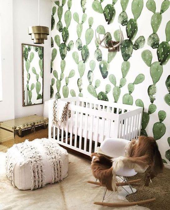 Vivero moderno Boho con papel tapiz de cactus