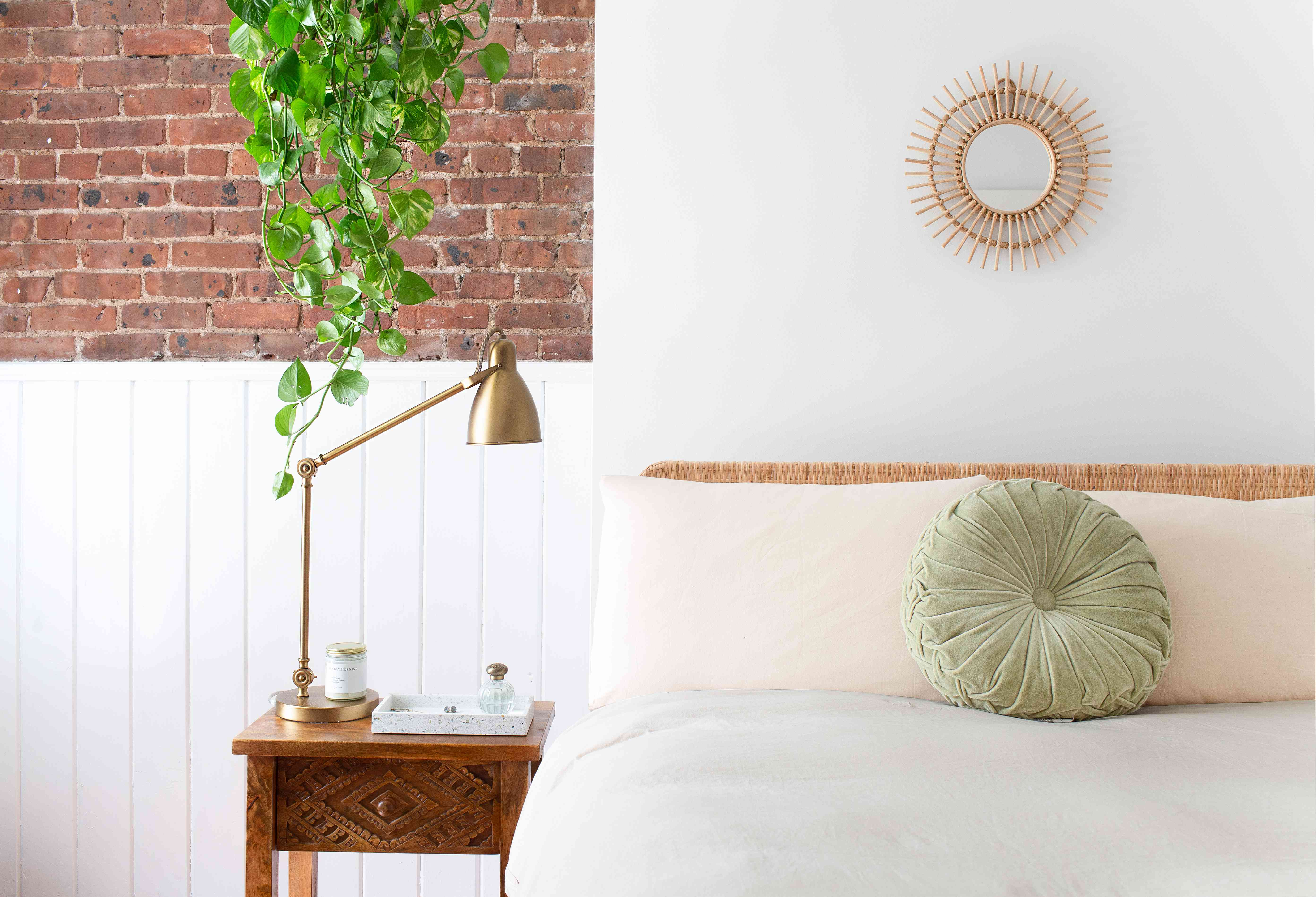 bed with a headboard