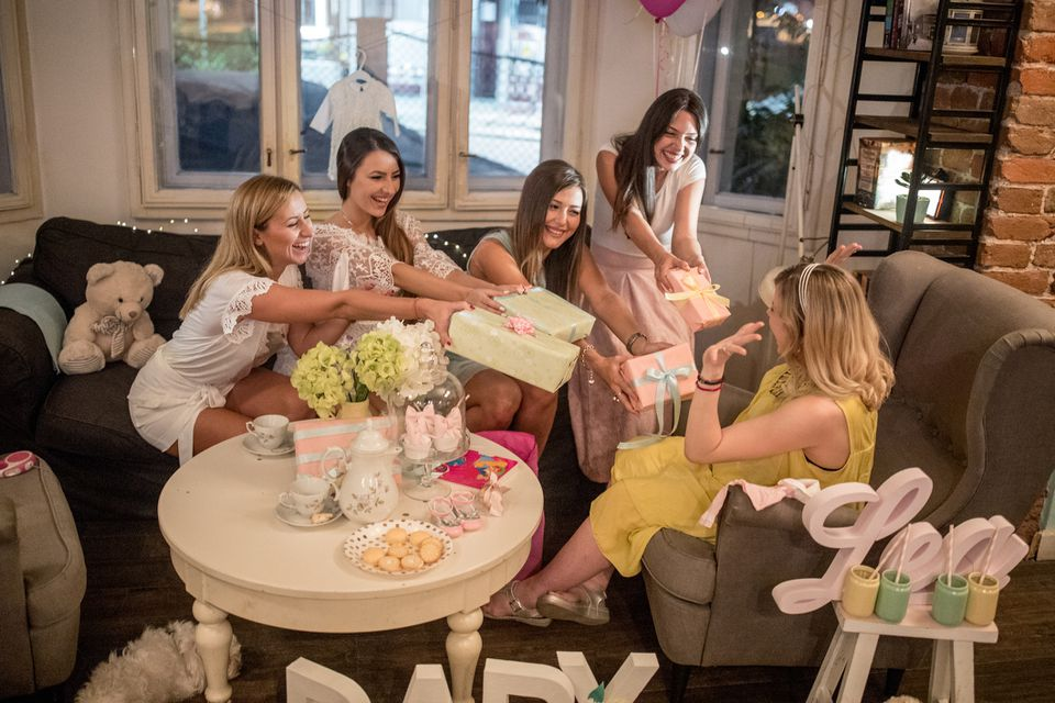 Women having fun at a baby shower