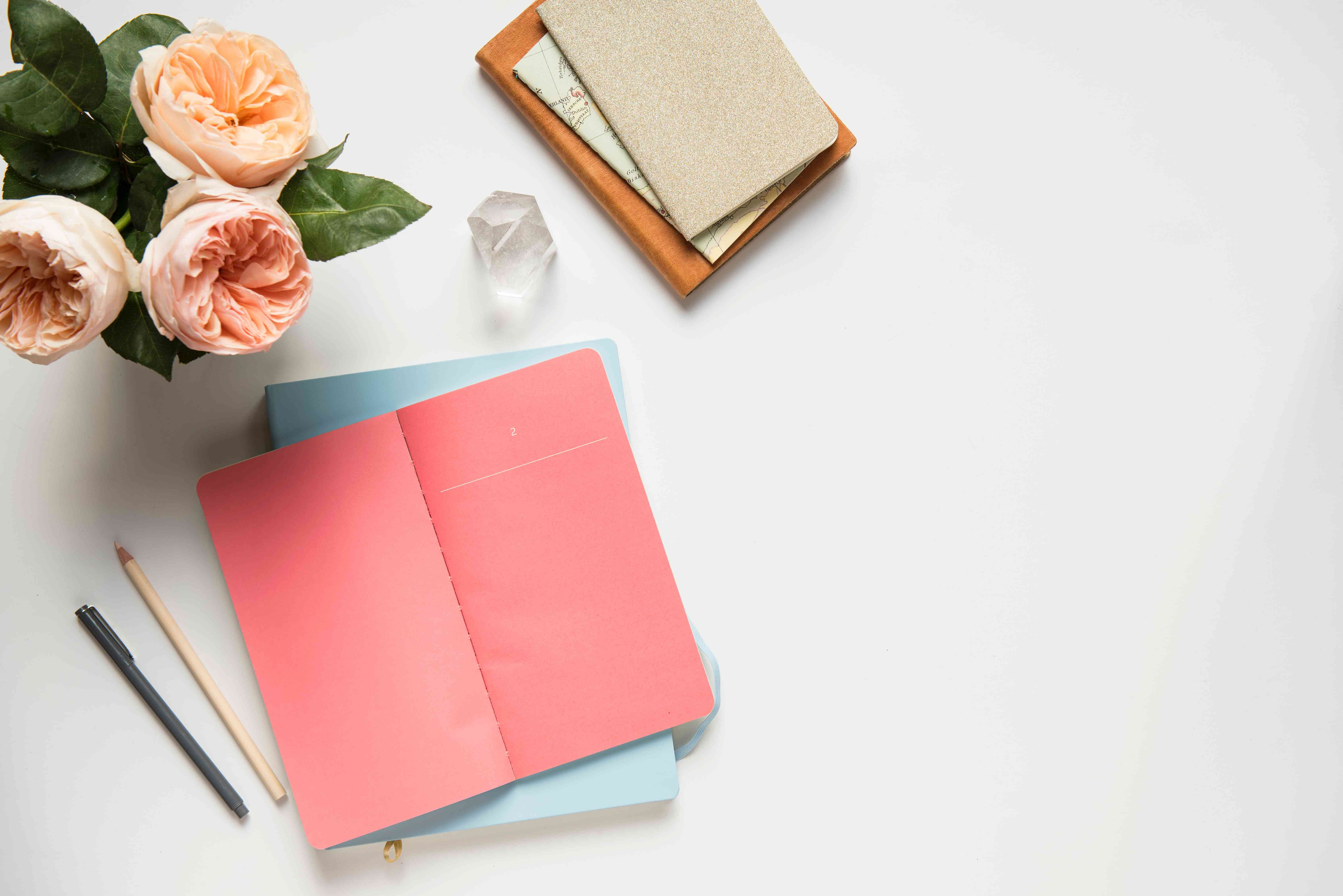 colorful papers on white background