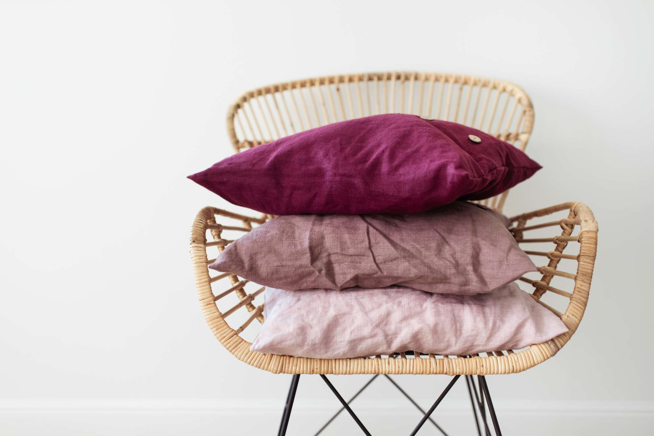 stack of throw pillows