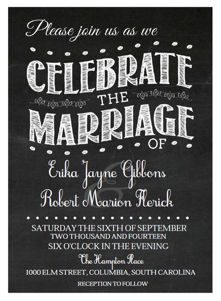 550 free wedding invitation templates you can customize a vintage chalkboard style free wedding invitation maxwellsz