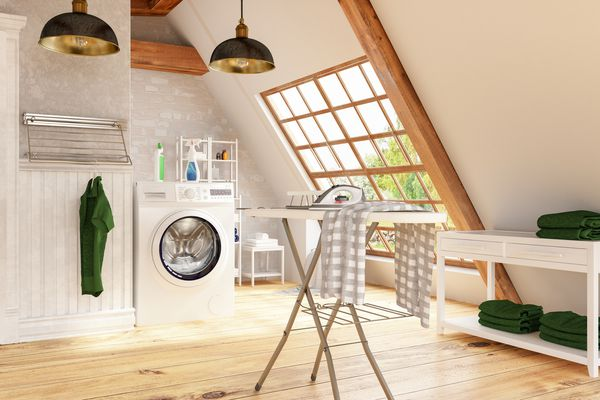 Laundry Room with Washer and Iron