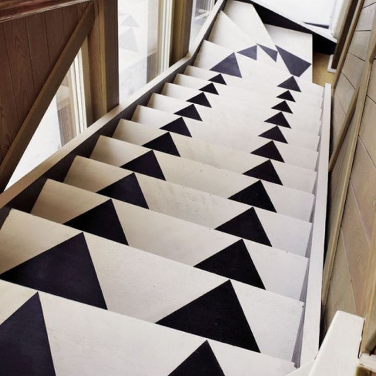 black and white diamond patterned stairs