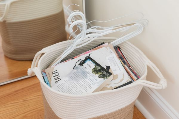 basket of old magazines