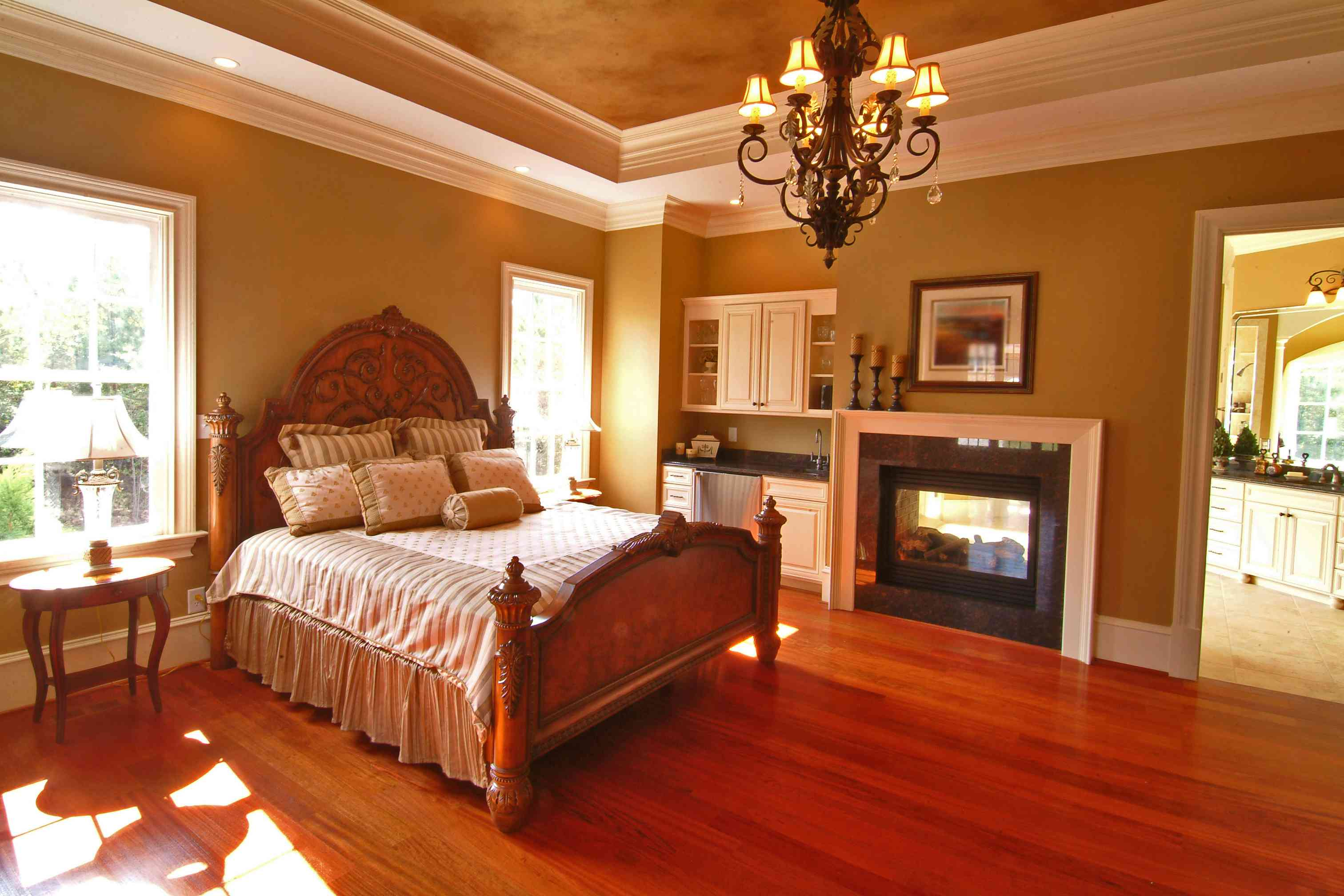 Master suite double sided fireplace