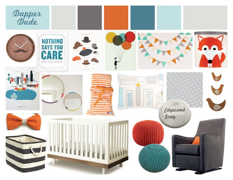 Mood board for a boy's nursery