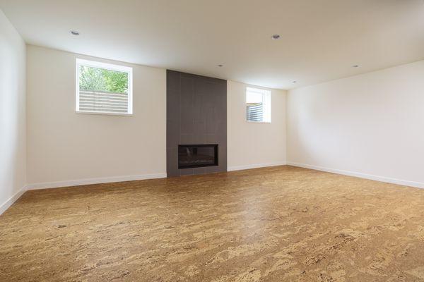 Basement with cork floor