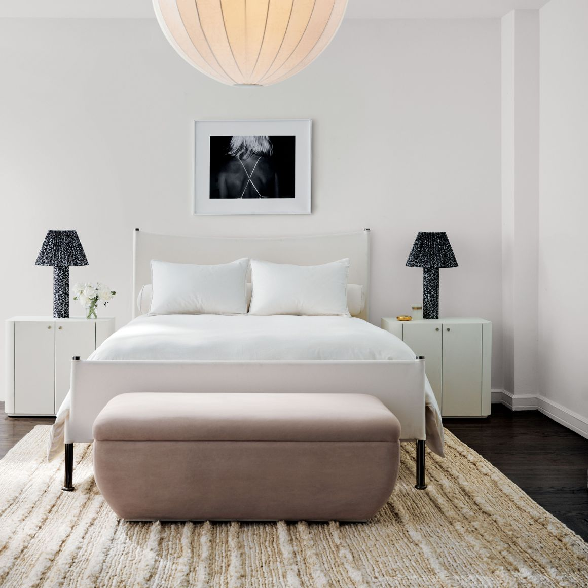White and light mauve bedroom