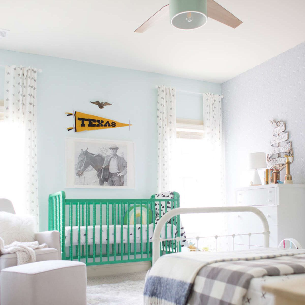 Blue nursery with green accents