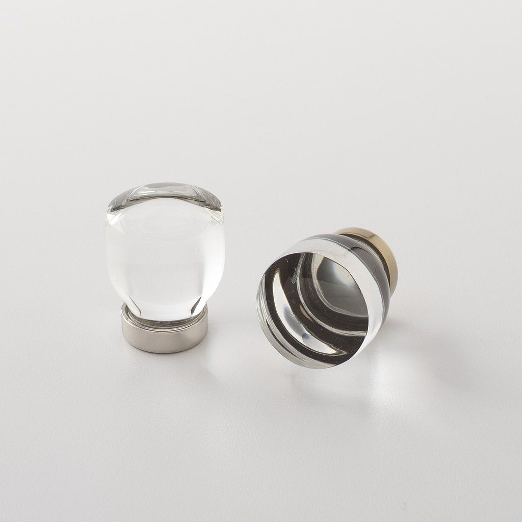 Clear hardware knobs on a white background