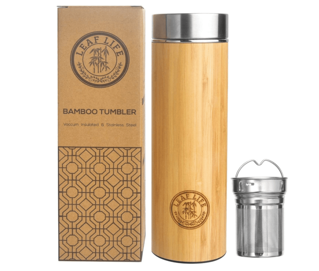 LeafLife Premium Bamboo Thermos with Tea Infuser & Strainer