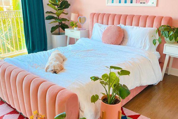 Bedroom with orange pink accents