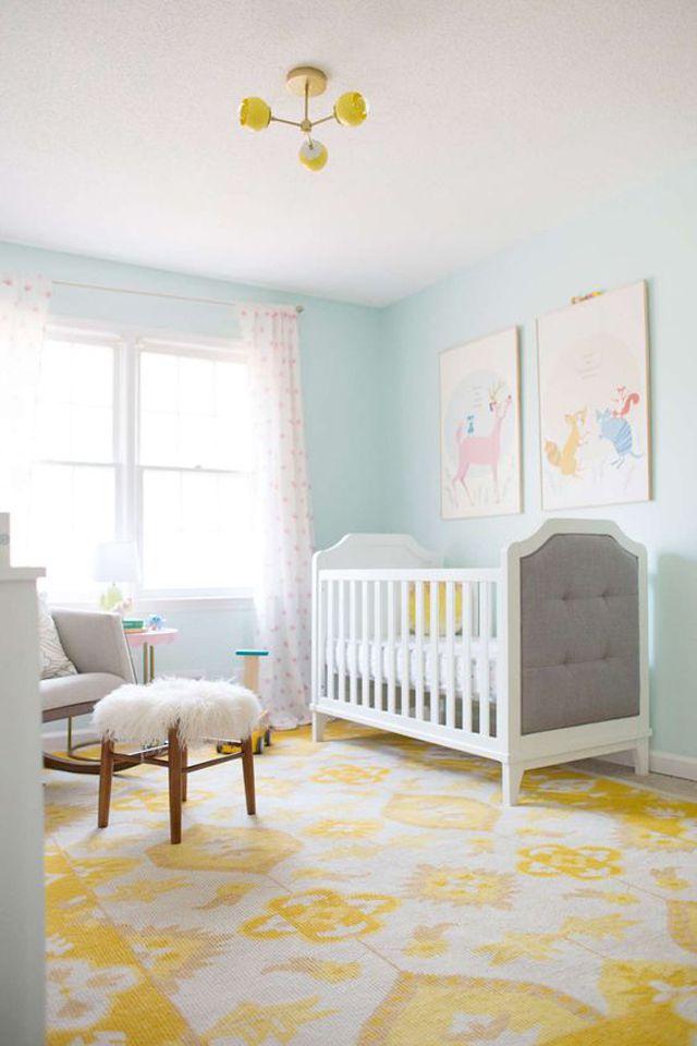 Aqua and yellow gender neutral nursery in Benjamin Moore's Morning Sky.