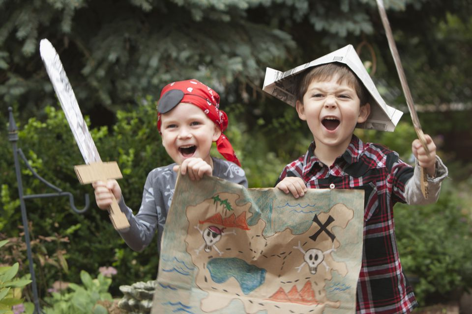 Kids playing pirates