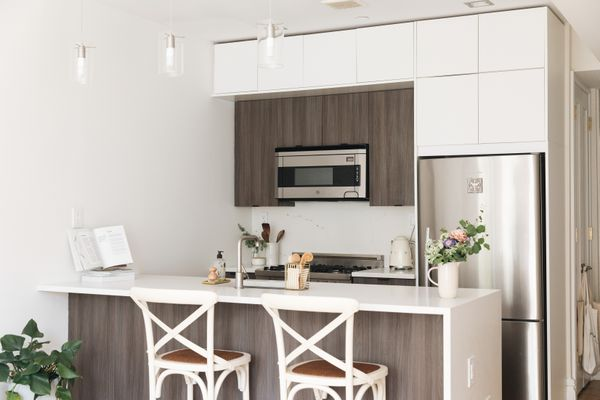cabinets extending to the ceiling