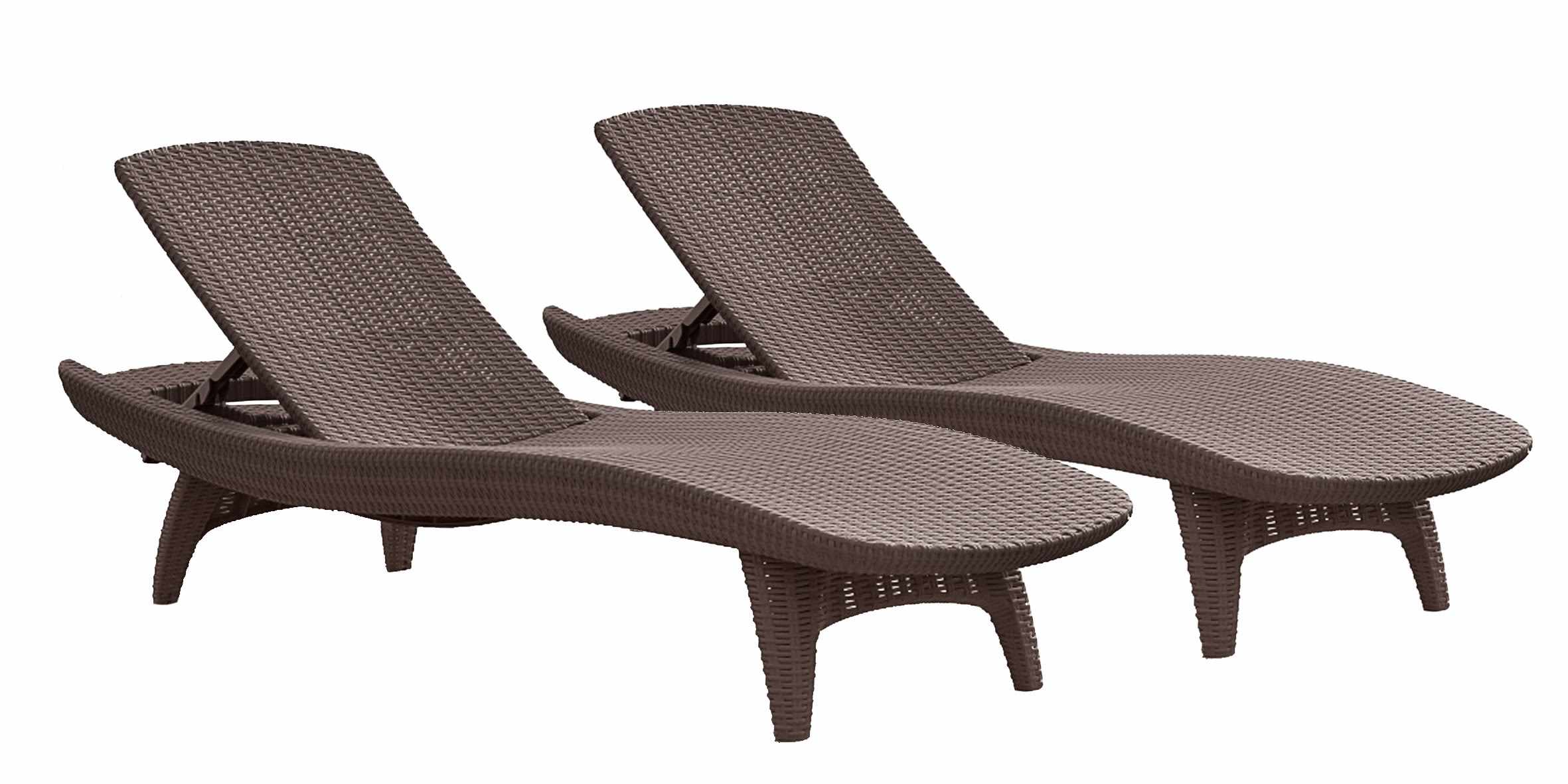 Keter Pacific Chaise Sun Lounger 2-Pack Adjustable, Grey