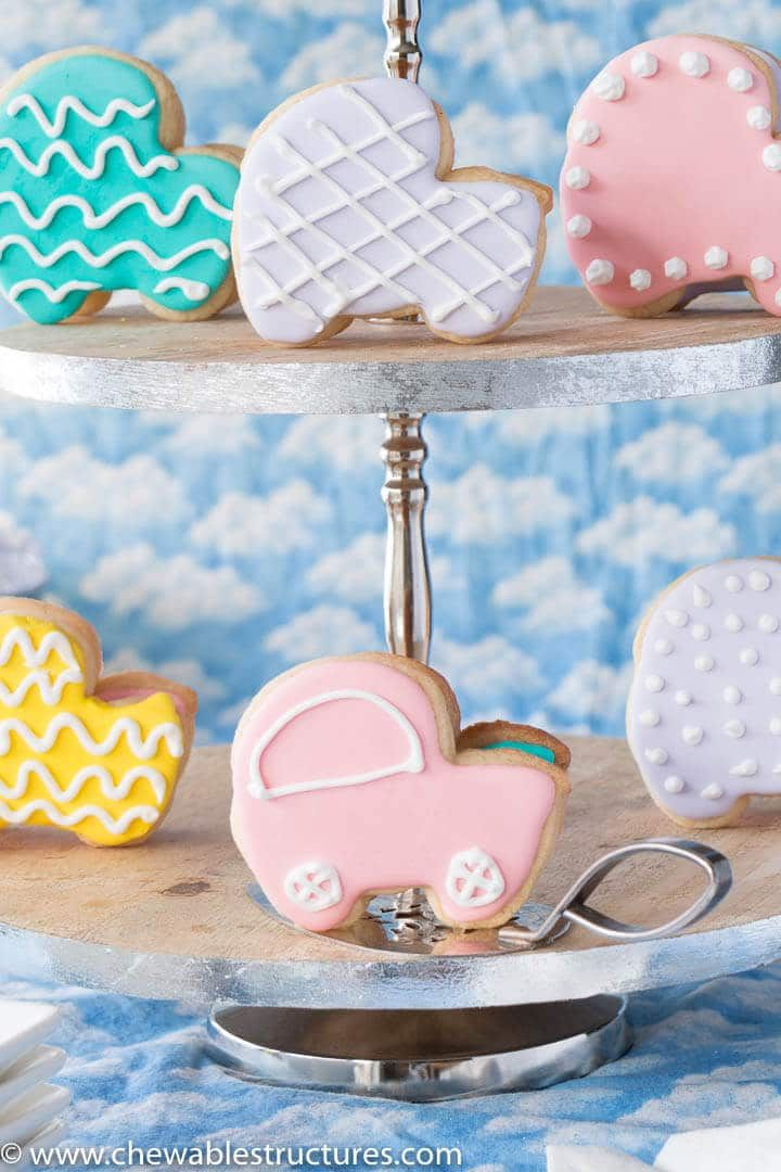 Cookies shaped like baby carriages