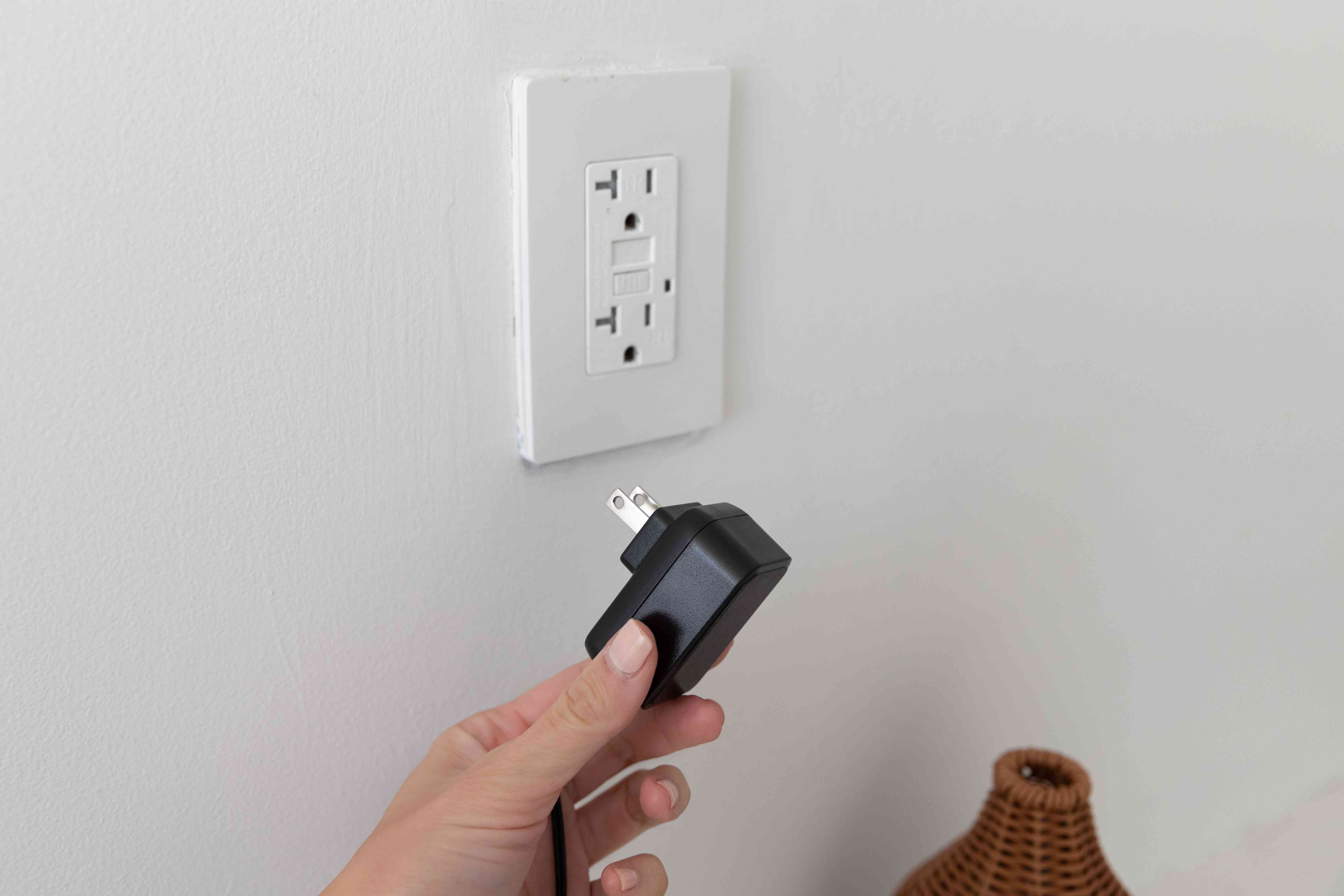 Oil diffuser unplugged from wall outlet