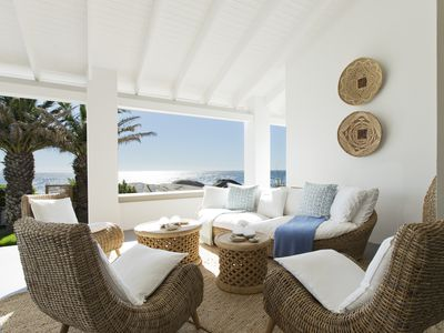 Wicker sofa and chairs on luxury patio