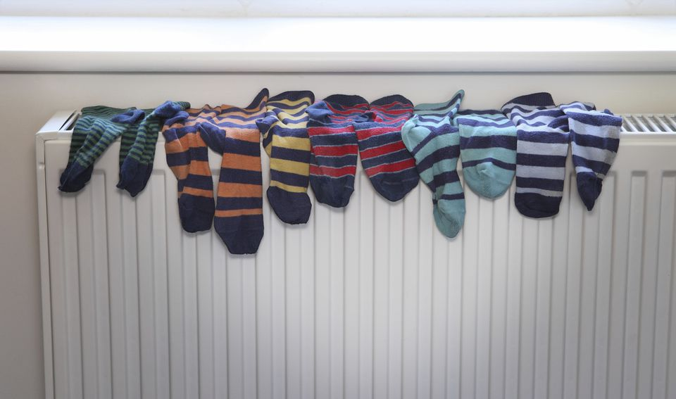 Socks drying on radiator
