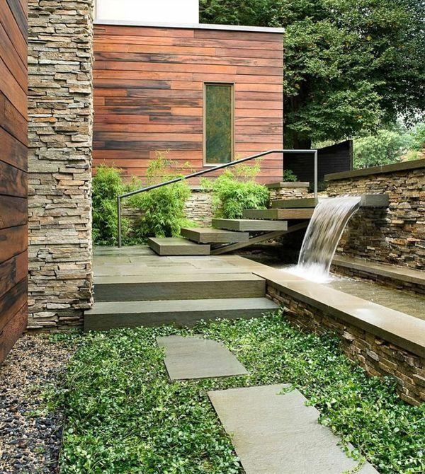 diseño moderno de paisaje de piedra