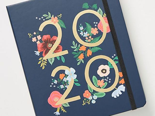Floral Hard Cover Non-Dated Monthly Weekly Diary Scheduler Planner 4 Colors