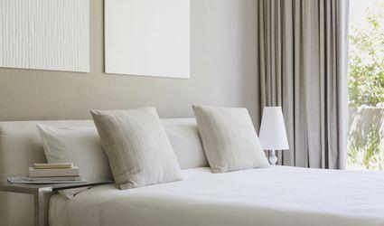 Beige and water colors bedroom