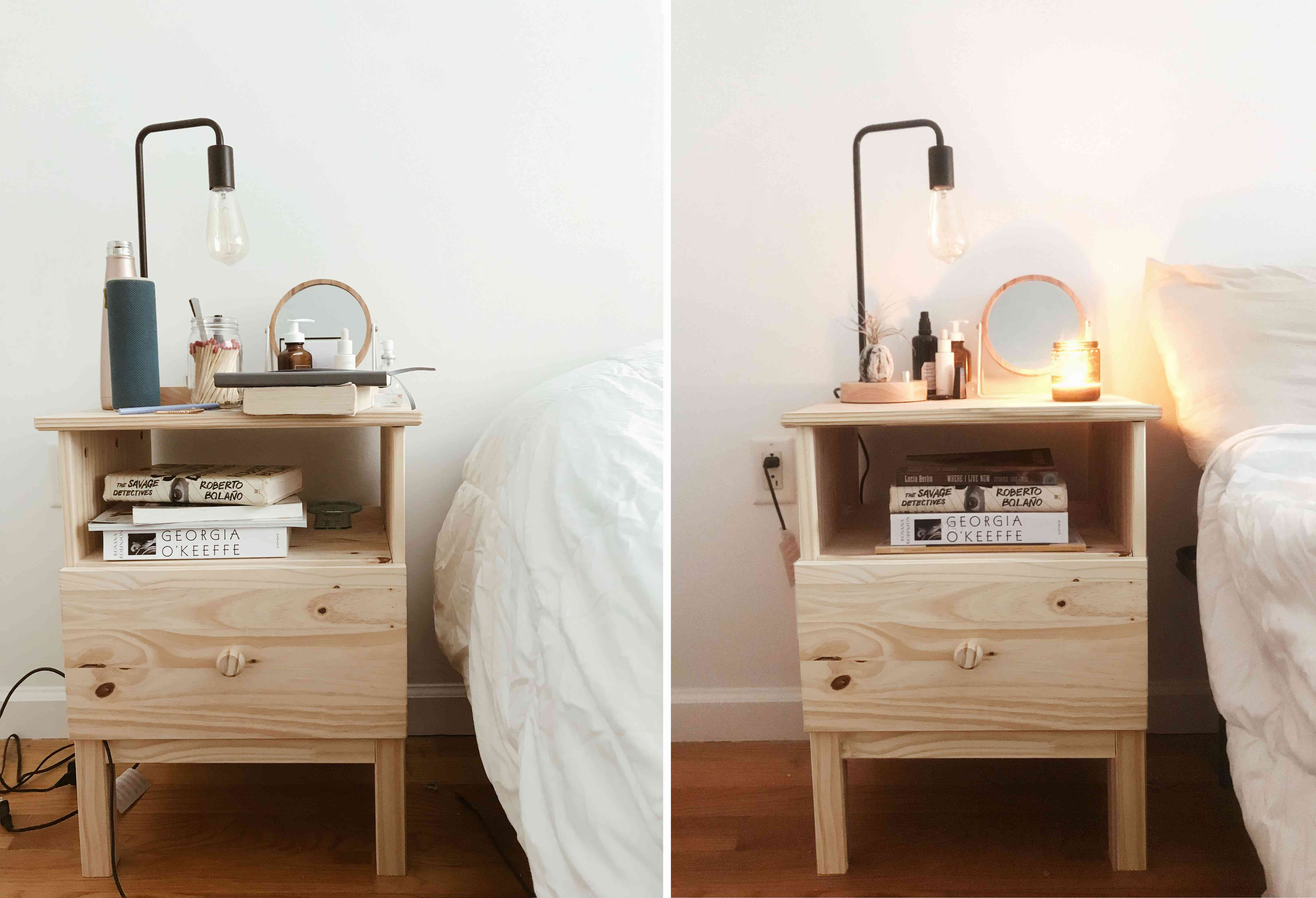 Before and after bedside table
