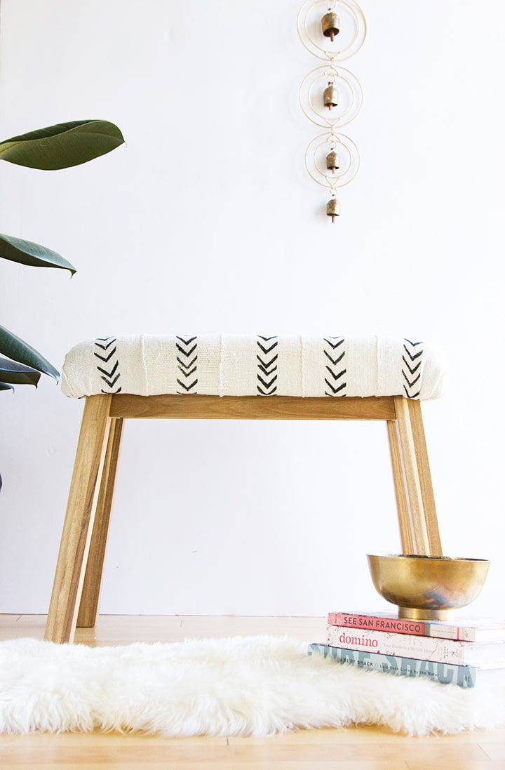 Mudcloth wooden bench