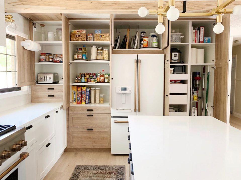 massive hidden kitchen storage